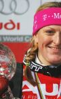 FIS World Cup Finals Aare 2006 - Janica with her Small Crystal Globe (SL), 17.03.2006.