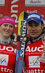 Aare (SWE), J. Kosteli� and G. Rocca - winners of slalom World Cup 2005/06, 17.03.2006.